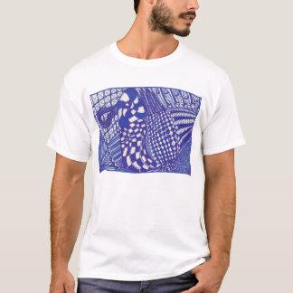 Camisetas abstracto azul y blanco del dibujo