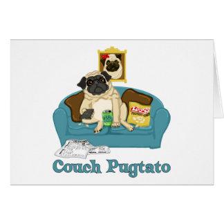 Camisetas adaptables adorables de Pugtato del sofá Tarjetas