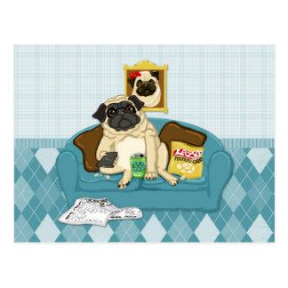 Camisetas adaptables adorables de Pugtato del sofá Postales