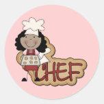 Camisetas afroamericanas y regalos del cocinero pegatina redonda
