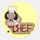 Camisetas afroamericanas y regalos del cocinero etiqueta redonda