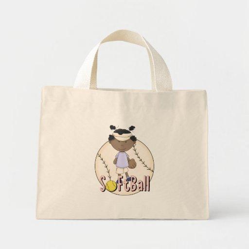 Camisetas afroamericanas y regalos del softball de bolsa tela pequeña