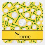 Camisetas amarillas conocidas personalizadas de pegatina cuadrada