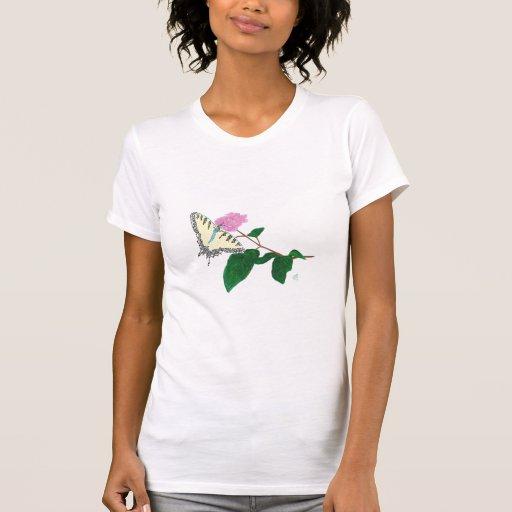 Camisetas amarillas de la flor de mariposa de Swal