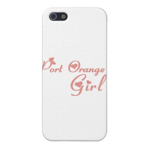 Camisetas anaranjadas del chica del puerto iPhone 5 cárcasas