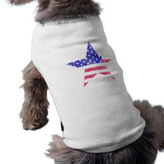 Camisetas apenadas de la estrella de la bandera de playera sin mangas para perro