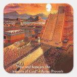 Camisetas aztecas y tarjetas de los regalos del pegatinas cuadradases personalizadas