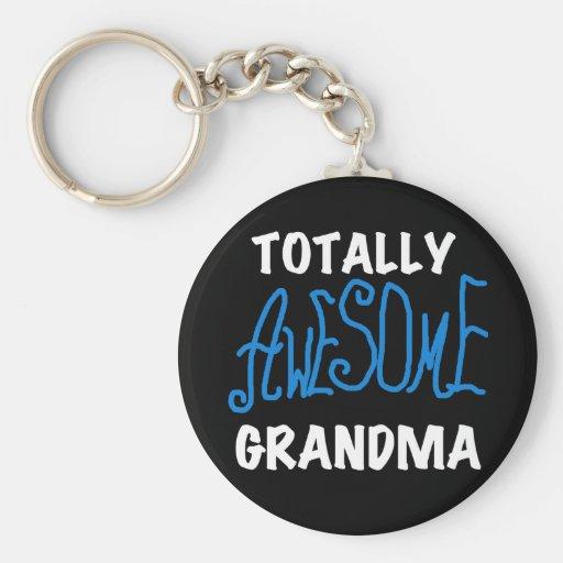 Camisetas azules y regalos de la abuela totalmente llavero personalizado