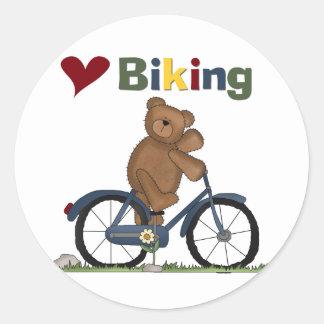 Camisetas Biking y regalos del amor azul de la Etiquetas Redondas