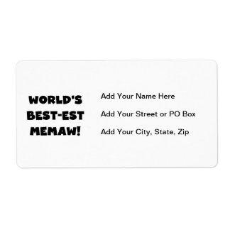 Camisetas blancos y negros del Mejor-est Memaw del Etiqueta De Envío