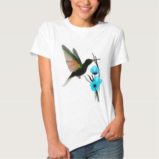 Camisetas Colibrí-Azul verde de las flores Remera