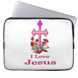 Camisetas cruzadas de Jesús Funda Computadora