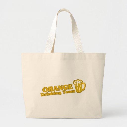 Camisetas de consumición anaranjadas del equipo bolsa tela grande