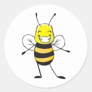 Camisetas de encargo: Camisetas feliz de la abeja Etiqueta Redonda
