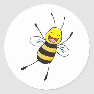Camisetas de encargo: Camisetas feliz de la abeja Pegatina Redonda