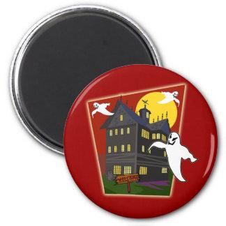 Camisetas de Halloween de la casa encantada, sudad Imán Redondo 5 Cm