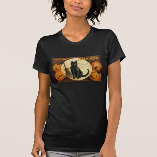 Camisetas de la bruja de Halloween del vintage Playera