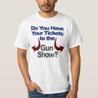 Camisetas de la demostración de arma, boletos a la
