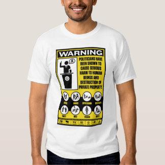 Camisetas de la etiqueta de advertencia de los remera