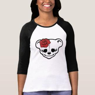 Camisetas de la flor del chica del cráneo del pelu