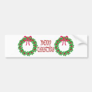 Camisetas de la guirnalda del acebo del navidad t etiqueta de parachoque