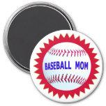 Camisetas de la mamá del béisbol y productos único iman de nevera