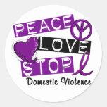 Camisetas de la violencia en el hogar de la PARADA Etiquetas Redondas