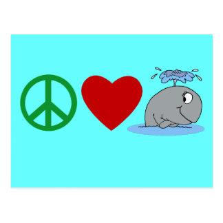 Camisetas de las ballenas del amor de la paz, taza tarjetas postales