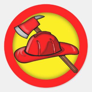 Camisetas de los bomberos de los niños y regalos pegatina redonda