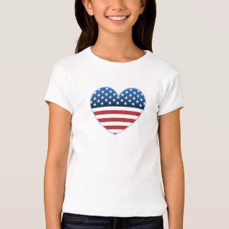 Camisetas de los chicas de la bandera del corazón playeras