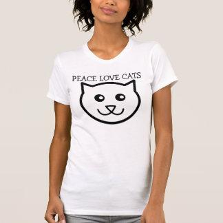 Camisetas de los gatos del amor de la paz playeras