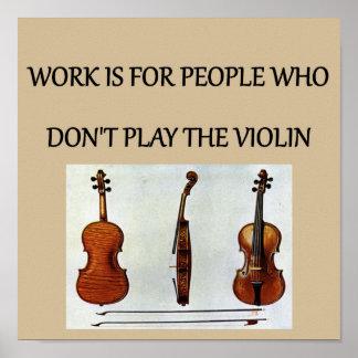 camisetas de los regalos del jugador del violín póster