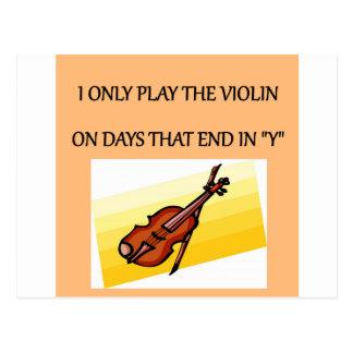 camisetas de los regalos del jugador del violín postal