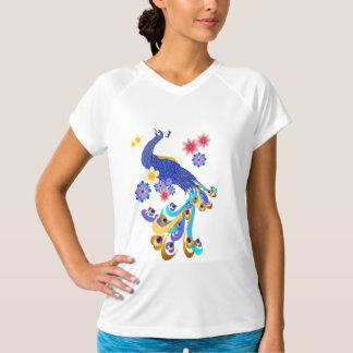 Camisetas de lujo del pavo real y de las flores playeras