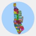Camisetas de Manhattan NYC del codificado por colo Etiquetas Redondas