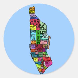 Camisetas de Manhattan NYC del codificado por Pegatina Redonda