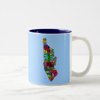Camisetas de Manhattan NYC del codificado por Taza De Café De Dos Colores