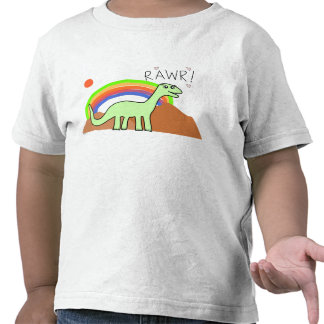 Camisetas de Rawr del arco iris de los niños