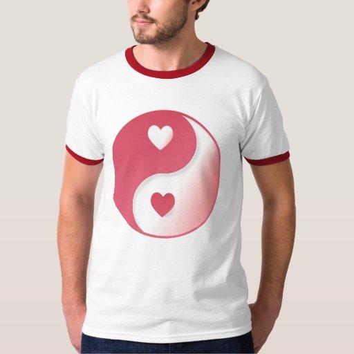Camisetas de Yin-Yang de la tarjeta del día de San Poleras