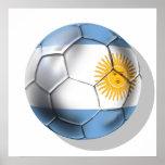 Camisetas del balón de fútbol de la Argentina Arge Poster