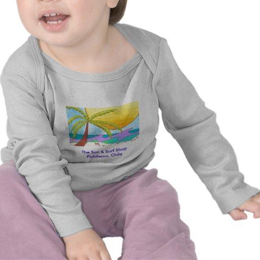 Camisetas del bebé de la playa de la tienda de la