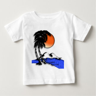 Camisetas del bebé del paraíso de la isla playera