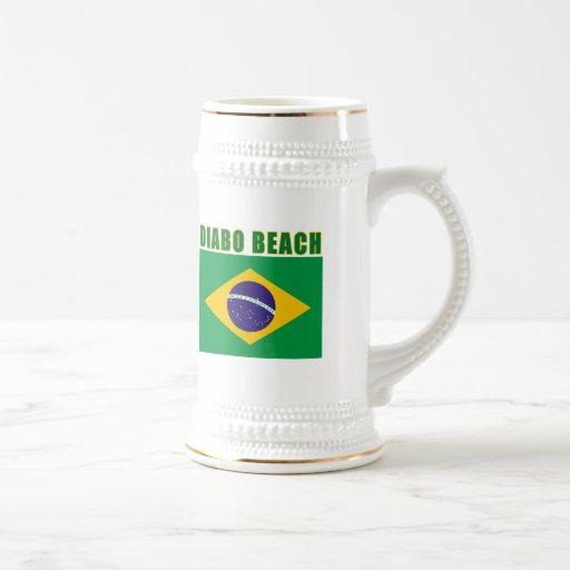 Camisetas del Brasil de la PLAYA de DIABO, regalos Taza De Café