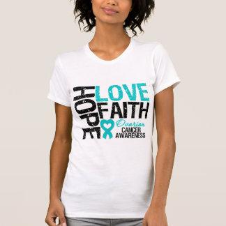 Camisetas del cáncer ovárico de la fe del amor de