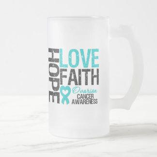 Camisetas del cáncer ovárico de la fe del amor de  taza de café
