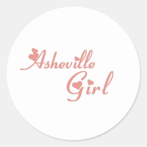 Camisetas del chica de Asheville Pegatinas Redondas