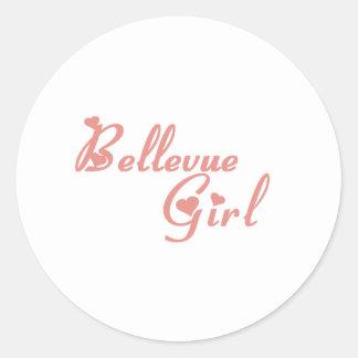 Camisetas del chica de Bellevue Pegatina Redonda