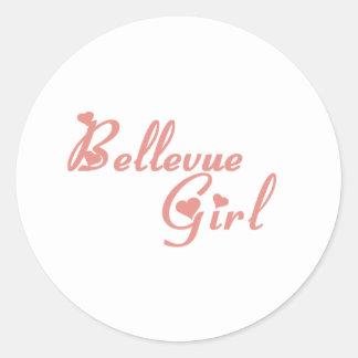 Camisetas del chica de Bellevue Etiquetas Redondas