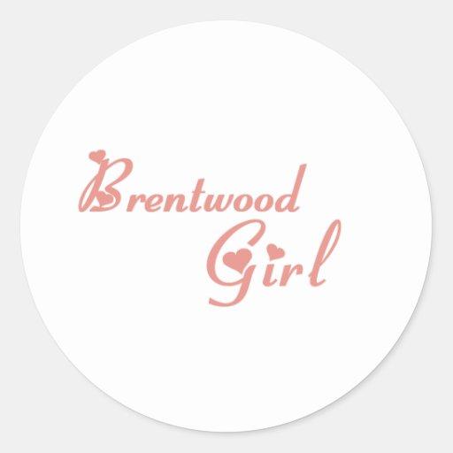 Camisetas del chica de Brentwood Pegatinas Redondas