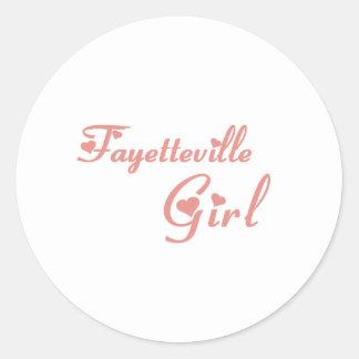 Camisetas del chica de Fayetteville Etiqueta Redonda